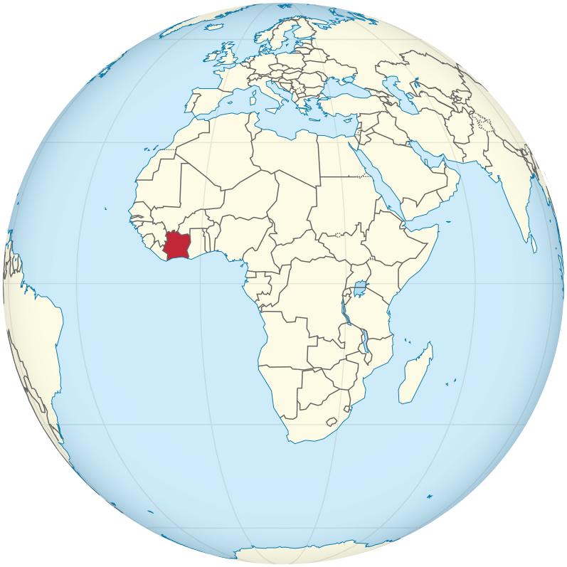 Cote d'Ivoire globe
