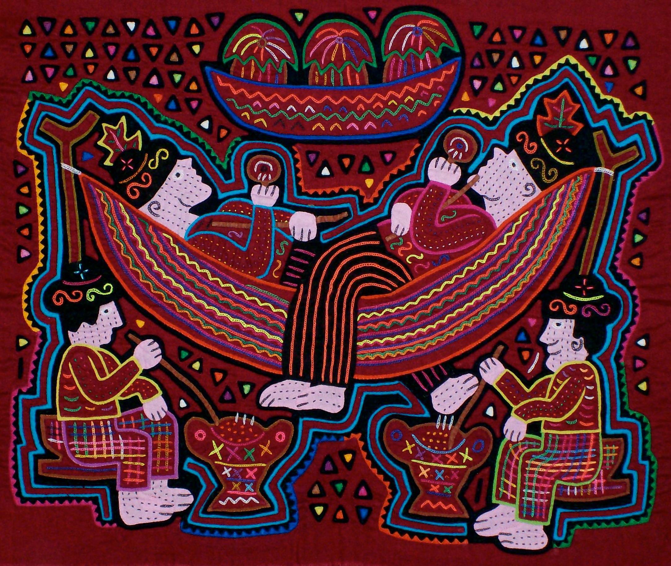 Musician in hammock mola