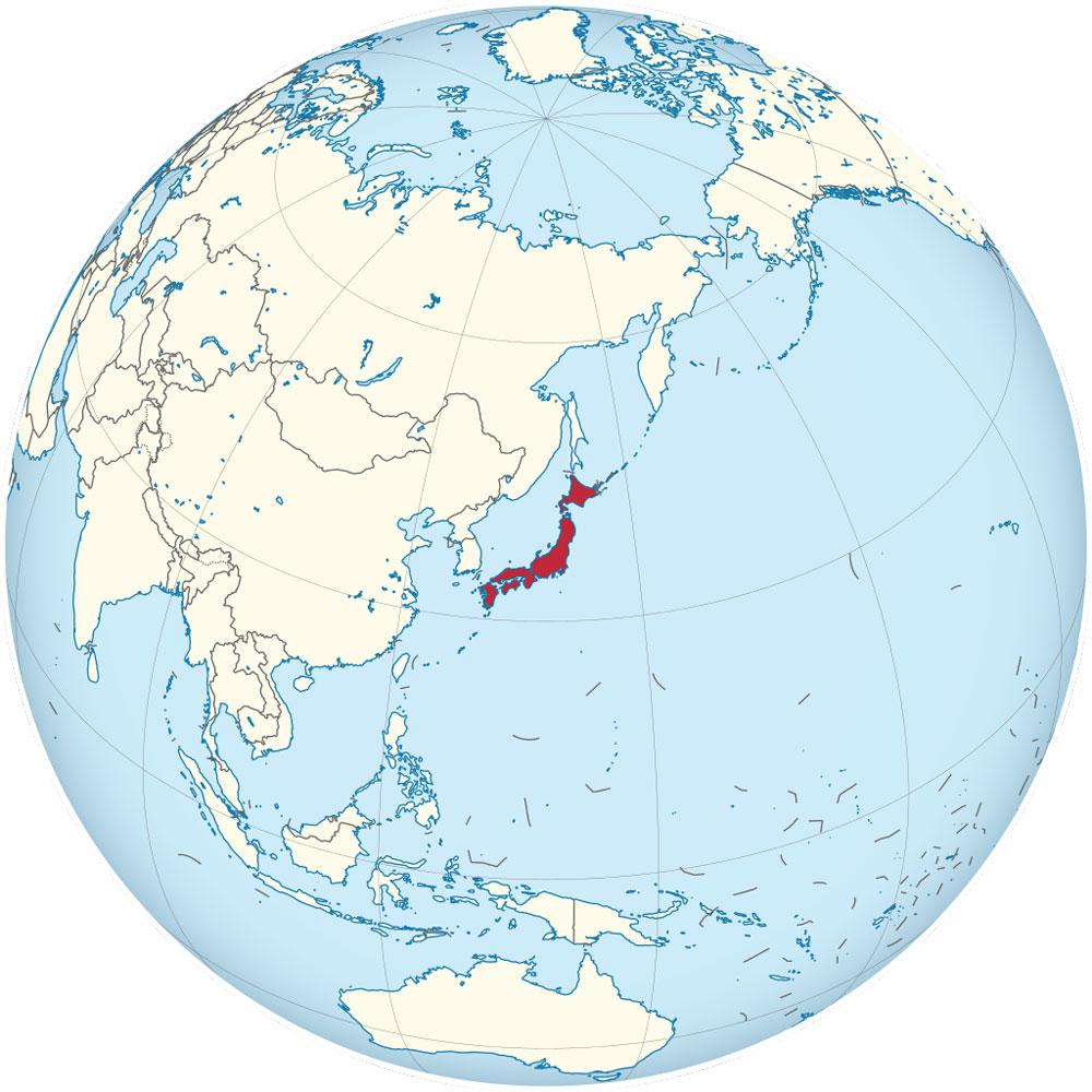Japan on the globe