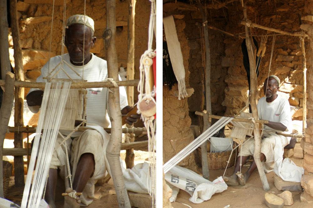 A man weaving a strip for a Bogolan cloth