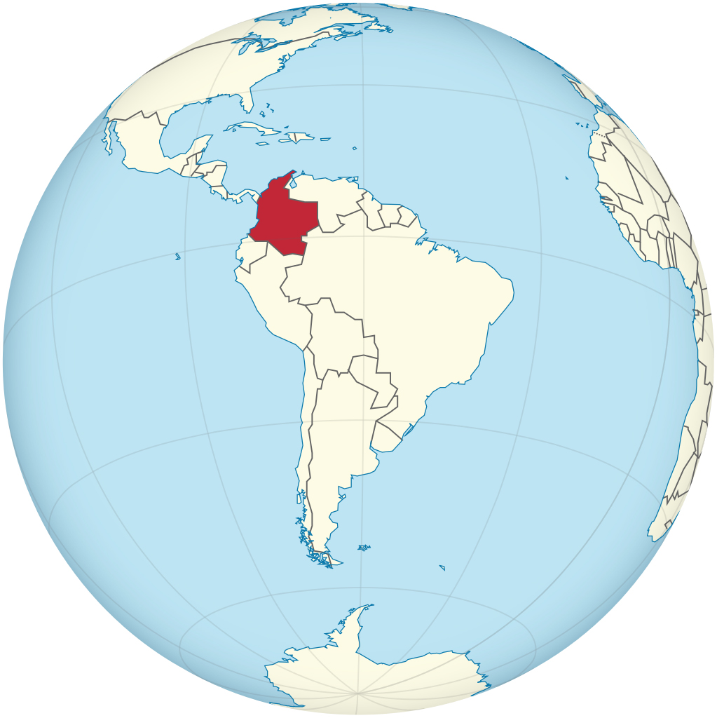 Colombia on the globe