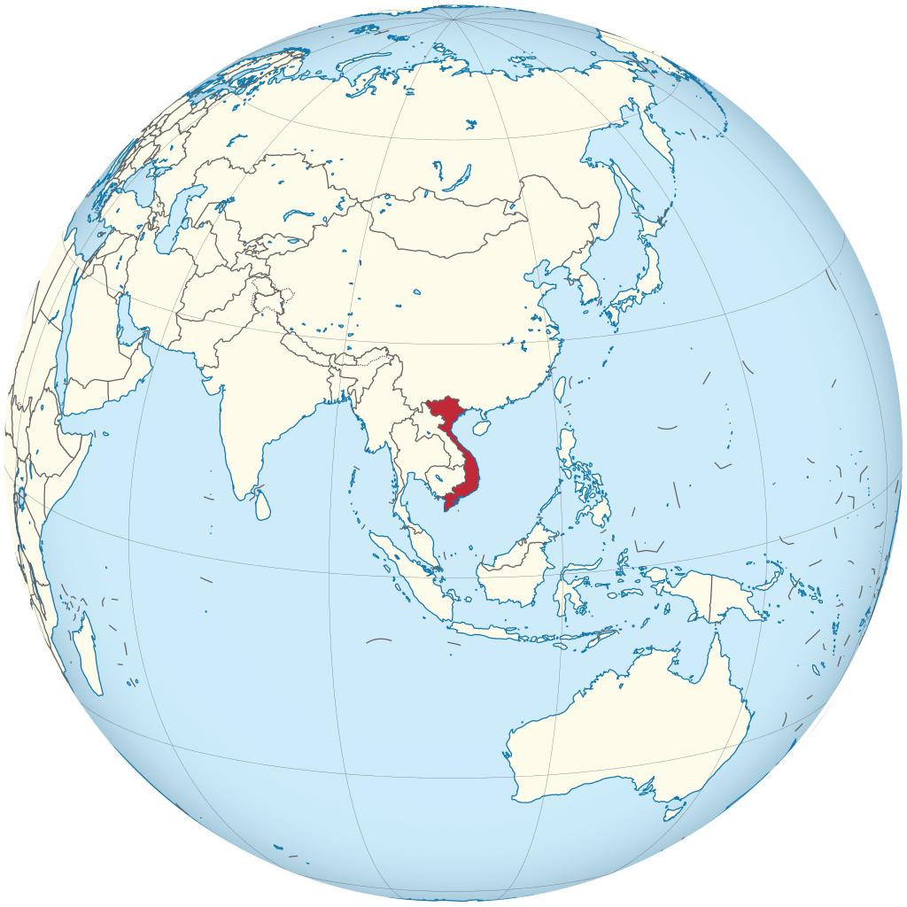 Vietnam on the globe
